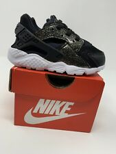 BABY GIRL: Nike Huarache Run SE Shoes, Black & Gold Sparkle - Size 6C 859592-005