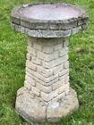 Fine Architectural Late 20th Century Octagonal Stone Garden Water Birdbath