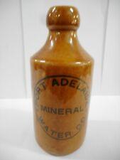 PORT ADELAIDE WATER CO MINERAL GINGER BEER BOTTLE .. R FOWLER SYDNEY