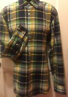 J. Crew Shirt Size Large Mens Plaid Green Blue Lightweight Cotton long sleeve