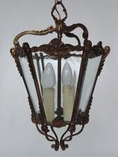 Vecchia LANTERNA FRANCESE lampada bronzo vetro Plafoniera 2 FIAMMA