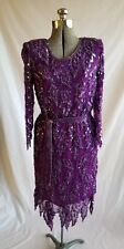 True Vintage Scala Beaded Dress Flapper Dress 1920's Gatsby Purple Sequin Large