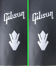 2 x silver vinyl Gibson style decals words & crowns guitar headstock sticker