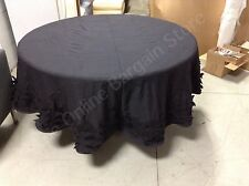 Grandinroad Halloween Bat Tablecloth Round Applique Ruffle Decor Party 96""