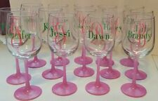 Personalized wine glass great wedding favors or gifts glitter stem glasses