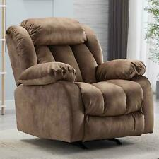 Living Room Rocker Recliner Chair Reclining Sofa Overstuffed Arms And Back Camel