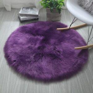 Round Soft Faux Sheepskin Rugs Floor Shaggy Plush Carpet Floor Mat Bedside Rug