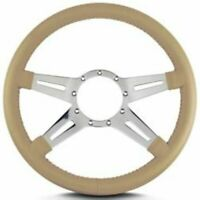 "Lecarra 93209 Steering Wheel Tan Leather Grip 4-Spoke 14""Diameter 9-Bolt Mount"