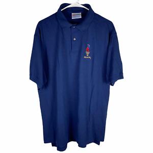 Vintage 1996 Atlanta Olympics Polo Shirt Men's XL Navy Blue Cotton Hanes Tag