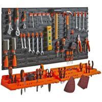 12 Hooks Plywood Tool Organiser Garage Wall Rack Storage Kit Unit 37.5x30 cm