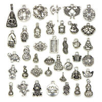 Wholesale 30pcs Tibetan silver Chinese knot cameo shell Charm Pendant Jewelry