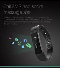 Schwarz Smart Fitness Armband Schlaf-Tracker Herzfrequenzmesser Schweißband Uhr