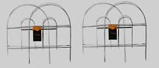 """2 Panacea WHITE GARDEN FENCE Folding Wire Double Arch Walkway Bed Edging 8' x18"""""""