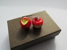 Red Apple Fruit Love Heart - Yummy 5 Five A Day Handmade Fun Earrings - Boxed