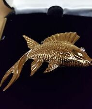 New Vintage Finely Detailed Fish Pin with Russian CZ Eye