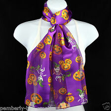 Skeleton Witch & Pumpkins Womens Scarf Halloween Scarfs Gift Purple Scarves New