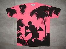 Disney Fashion MIckey Mouse World Land  L XL Pink Black Graphic T Shirt USED