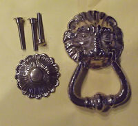 Ancien Heurtoir de Porte Laiton Bronze de style vintage Tête de Lion Couleurs Or