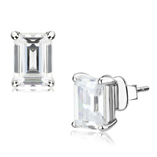 4633 ASSHER EMERALD CUT STUD EARRINGS SIMULATED DIAMONDS CLEAR SPARKLING WOMENS