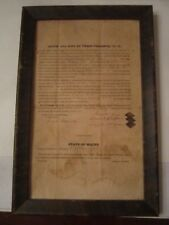 """ANTIQUE 1837 LEGAL CONTRACT DOCUMENT IN MAINE - FRAMED 15"""" X 10"""""""
