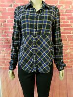 We the Free People Plaid Women Blue Long Sleeve Button-Down Shirt Size Small