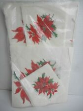 Vtg Christmas Holiday Paper Tablecloth & Napkins Set Red Poinsettia in Package