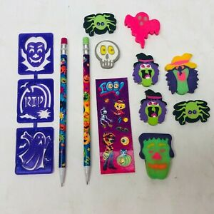Lisa Frank Halloween Lot with Mechanical Pencils Erasers Stickers Stencil- set 5