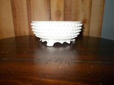 FENTON? HOBNAIL MILK GLASS THREE FOOTED CANDY DISH BOWL