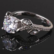Sz 4-9 Rose Flower Shape 2ct Diamonique CZ Jewelry Women's 925 Silver Party Ring