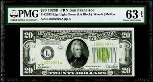 """$20 1928B FRN San Francisco Fr#2052-L """"Light Green"""" PMG 63 EPQ Choice Unc."""