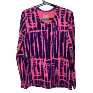 Women's Under Armour Fitted Heatgear Pink Tie Dye Long Sleeve Active Shirt Large