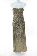 Badgley Mischka Sequinned Metallic Gold Glitterati Gown Size 4P $650 10083967