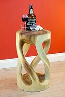 Beistelltisch Holz Massivholz Wohnzimmer Tisch Holztisch rund natur Podest hell