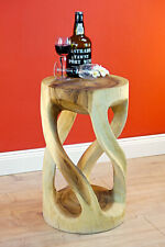 Side Table Wood Solid Living Room Wooden Round Natural Podium Bright