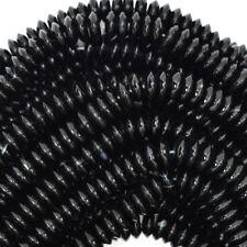 "8mm black onyx rondelle beads 15.5"" strand S1"