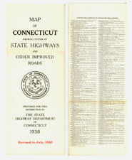 Vintage 1940 Connecticut Official Road Map from State Highway Department