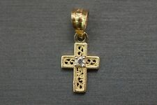 Charm Cross Children Women Cz Pendant. 10K Solid Yellow Gold Tiny Crucifix