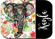 PERSONALIZED MOUSE PAD COMPUTER PC RUBBER ELEPHANT FLOWERS
