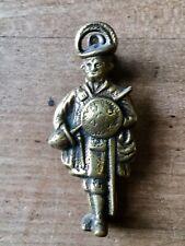 Vintage Brass Door Knocker Small Guard Knight Figure Cast Brass Antique