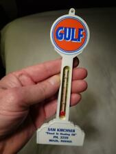1950S-60s GULF GAS OIL NOS SIGN POST THERMOMETER Brazil Indiana