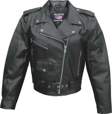 Ladies basic motorcycle Split Cowhide 3 front zippered 1 snap pockets jacket