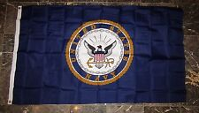 3x5 U.S. Navy Emblem Crest Nylon / Poly Blend Flag 3'x5' Brass Grommets w/ Clips