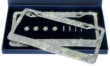2 LUXURY Made with SWAROVSKI CRYSTAL Metal License Plate Frame Cap Diamond Bling