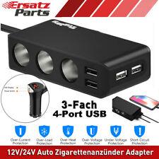 KFZ 3-Fach Verteiler Zigarettenanzünder Steckdose 4 USB Auto Ladegerät Adapter