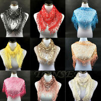 Women's Lace Tassel Sheer Floral Long Wrap Shawl Beach Silk Scarf Cool