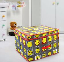 Multi Use Expression Faces Grey Emoticon Storage Box Kids Toy Chest Room Tidy