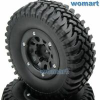 2pc RC 1.9 Crawler Tires 100mm Tyre & 1.9 Beadlock Wheel Rim For 1/10 RC Crawler