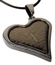 Necklace - Heart with Biblical Text - Cross - Black - Adjustable - inkgrafix