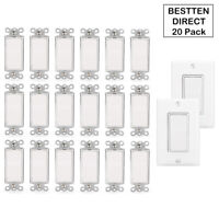 20 Pack Decorator Rocker Switch Single Pole 15A 120 / 277V Wall Light Switches