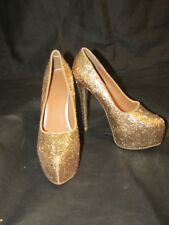 ERGE Womans Gold Glitter Platforrm Stiletto Heel Pumps Size 7.5  EUC